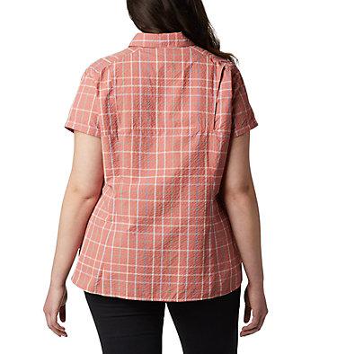 Women's Silver Ridge™ Novelty Short Sleeve Shirt - Plus Silver Ridge™ Novelty SS Shirt | 639 | 1X, Dark Coral Windowpane, back