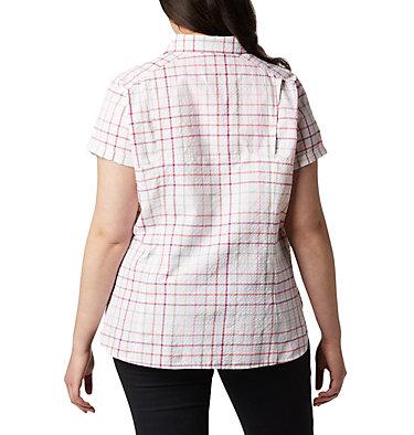 Women's Silver Ridge™ Novelty Short Sleeve Shirt - Plus Silver Ridge™ Novelty SS Shirt | 639 | 1X, Bright Poppy Windowpane, back