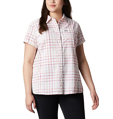 Women's Silver Ridge™ Novelty Short Sleeve Shirt - Plus Silver Ridge™ Novelty SS Shirt | 639 | 1X, Bright Poppy Windowpane, front