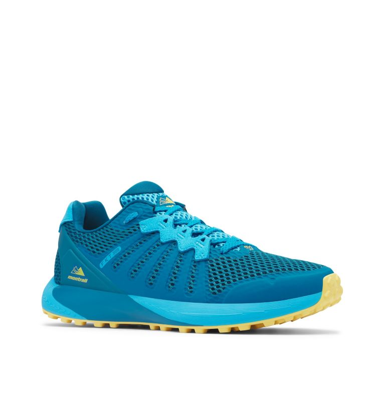 COLUMBIA MONTRAIL F.K.T.™   435   8 Men's Columbia Montrail F.K.T.™ Trail Running Shoe, Dark Turquoise, Golden Nugget, 3/4 front