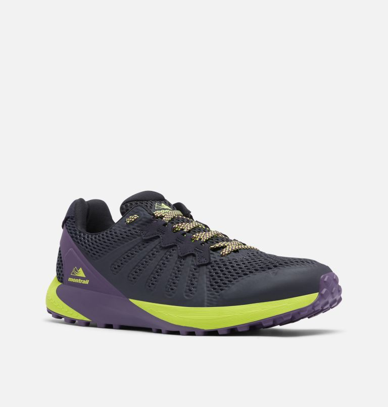 COLUMBIA MONTRAIL F.K.T.™ | 444 | 7.5 Men's F.K.T.™ Trail Running Shoe, Extreme Midnight, Acid Green, 3/4 front