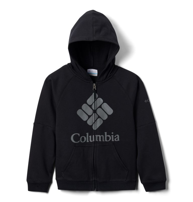 Columbia™ Branded French Terry Full Zip  | 010 | L Kids' Columbia™ Branded French Terry Full Zip Hoodie, Black, back