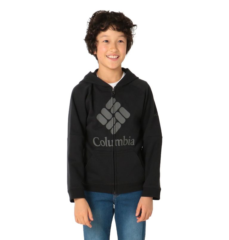 Columbia™ Branded French Terry Full Zip  | 010 | L Kids' Columbia™ Branded French Terry Full Zip Hoodie, Black, front