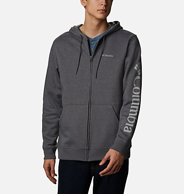 Men's Columbia™ Logo Full Zip Fleece Hoodie M Columbia™ Logo Fleece FZ   030   L, City Grey Heather, Columbia Grey, front