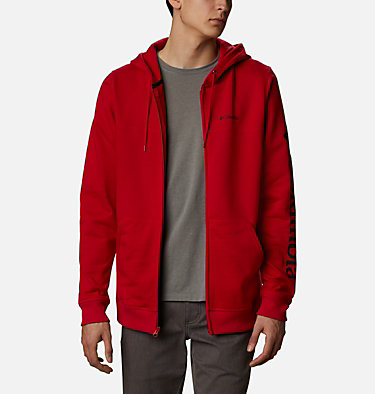 Men's Columbia™ Logo Full Zip Fleece Hoodie M Columbia™ Logo Fleece FZ   030   L, Mountain Red, Black, front