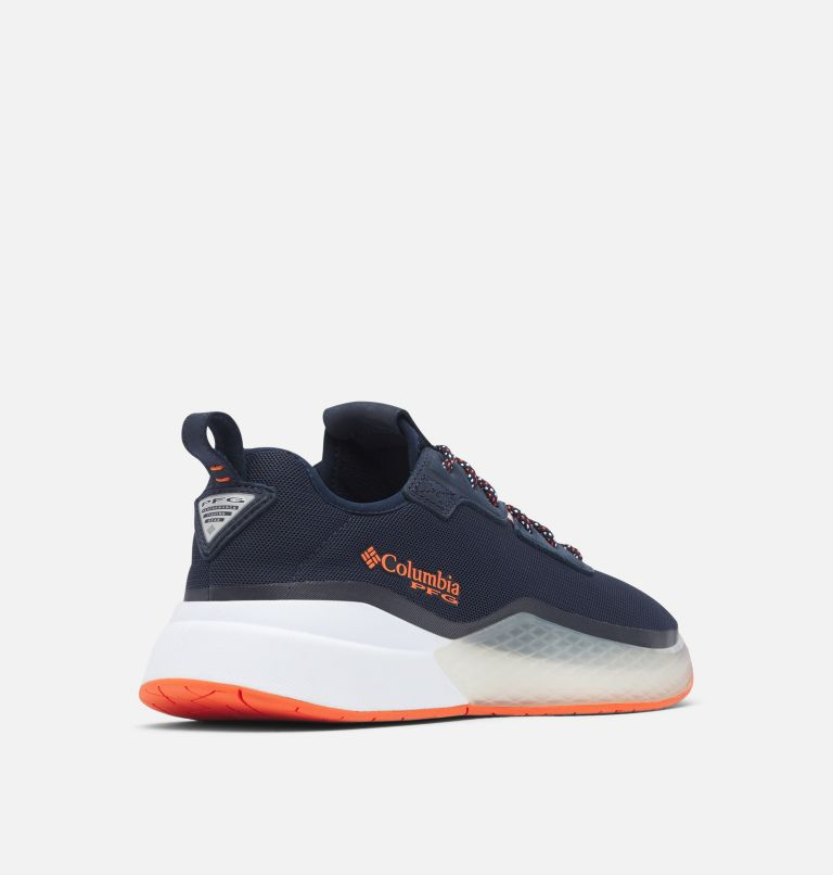 LOW DRAG™ PFG | 464 | 9.5 Men's PFG Low Drag™ Shoe, Collegiate Navy, Tangy Orange, 3/4 back