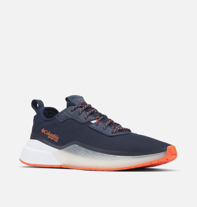 LOW DRAG™ PFG | 464 | 9.5 Men's PFG Low Drag™ Shoe, Collegiate Navy, Tangy Orange, 3/4 front