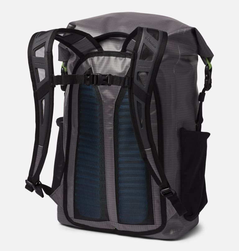 Force XII™ 35L Rolltop Backpack | 023 | O/S PFG Force XII™ 35L Rolltop Backpack, City Grey, Jade Lime, back