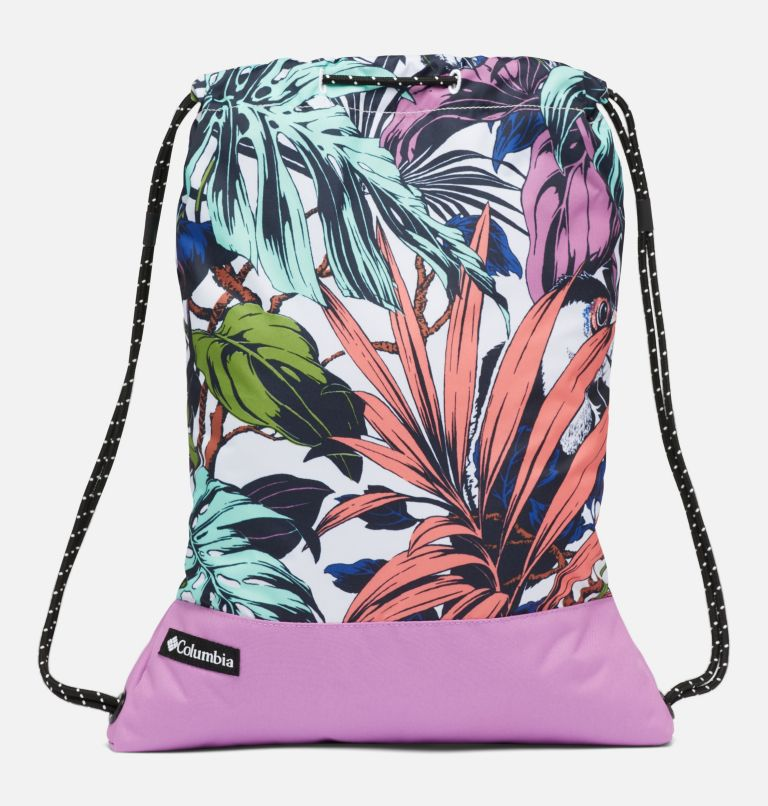 Drawstring Pack | 101 | O/S Drawstring Pack, White Toucanical, Blossom Pink, front
