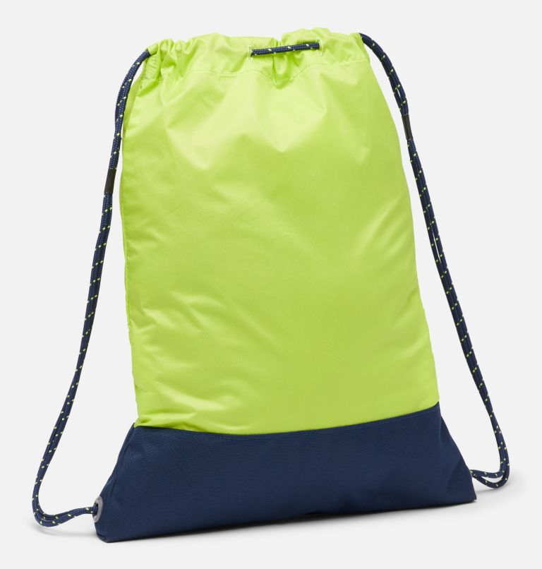 Drawstring Pack | 386 | O/S Drawstring Pack, Bright Chartreuse, Collegiate Navy, back