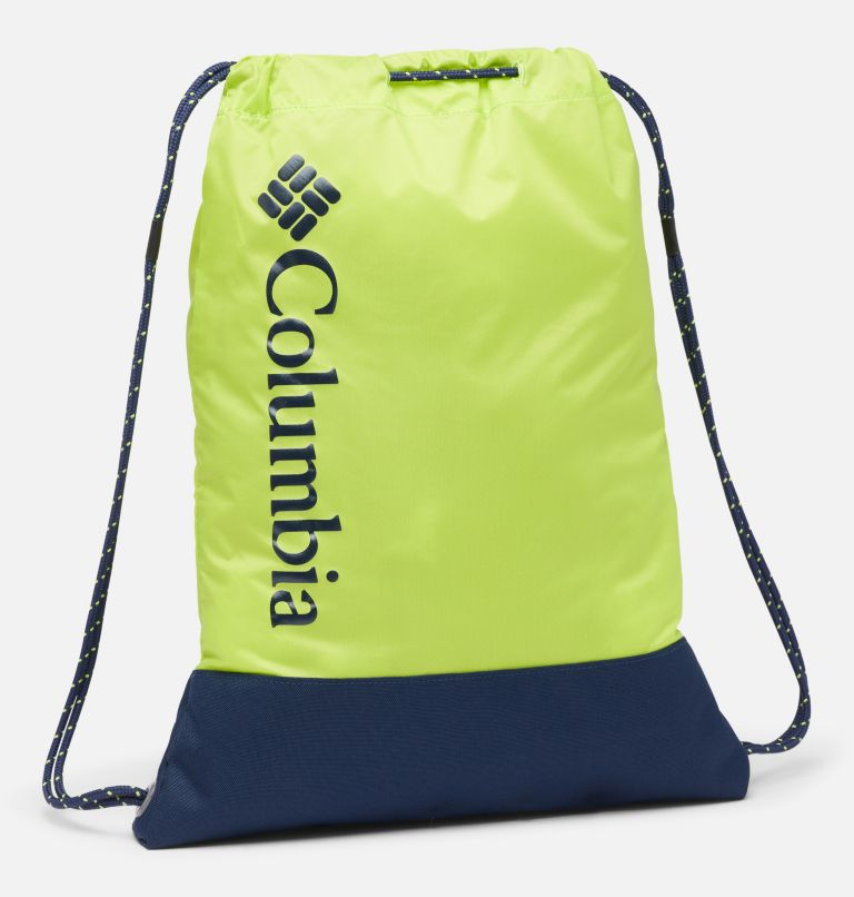Drawstring Pack | 386 | O/S Drawstring Pack, Bright Chartreuse, Collegiate Navy, front