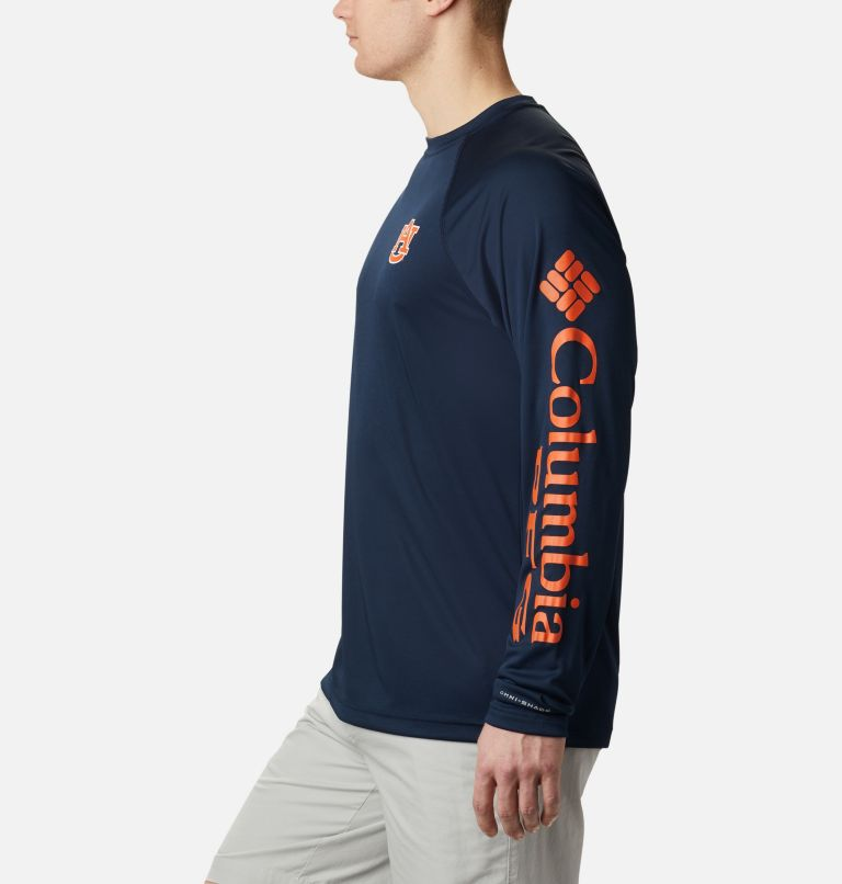 CLG Terminal Tackle™ LS Shirt | 464 | L Men's Collegiate PFG Terminal Tackle™ Long Sleeve Shirt - Auburn, AUB - Collegiate Navy, Spark Orange, a1