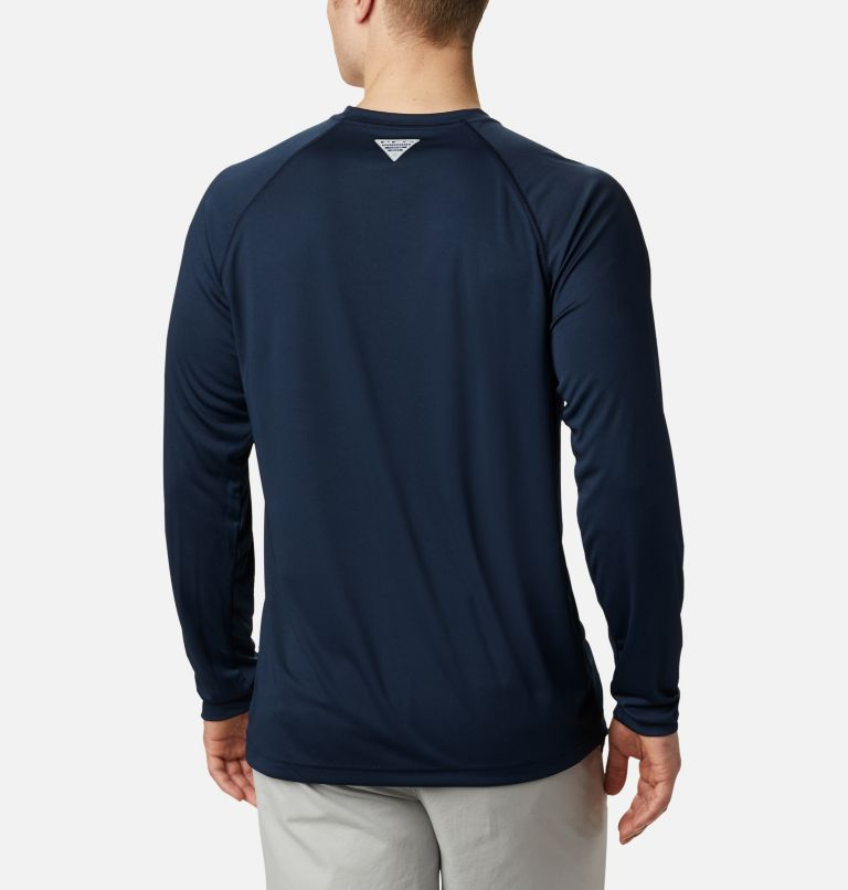 CLG Terminal Tackle™ LS Shirt | 464 | L Men's Collegiate PFG Terminal Tackle™ Long Sleeve Shirt - Auburn, AUB - Collegiate Navy, Spark Orange, back