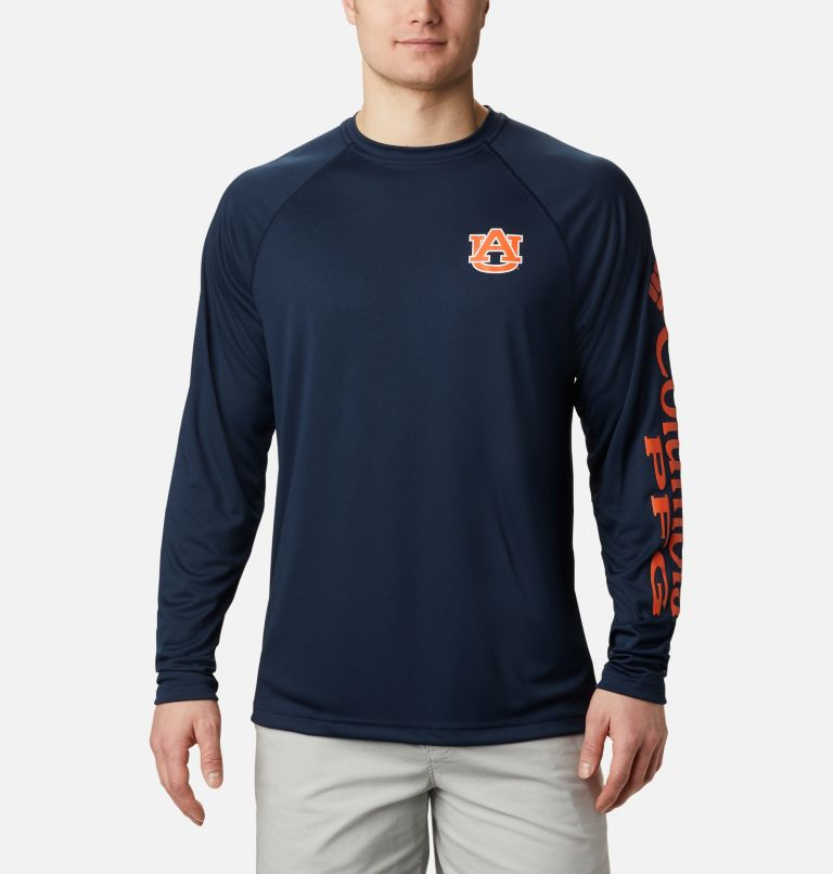 CLG Terminal Tackle™ LS Shirt | 464 | L Men's Collegiate PFG Terminal Tackle™ Long Sleeve Shirt - Auburn, AUB - Collegiate Navy, Spark Orange, front