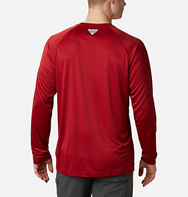 Men's Collegiate PFG Terminal Tackle™ Long Sleeve Shirt - Alabama CLG Terminal Tackle™ LS Shirt | 678 | S, ALA - Red Velvet, White, back