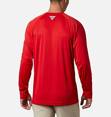 Men's Collegiate PFG Terminal Tackle™ Long Sleeve Shirt - Georgia CLG Terminal Tackle™ LS Shirt | 690 | XXL, UGA - Bright Red, White, back