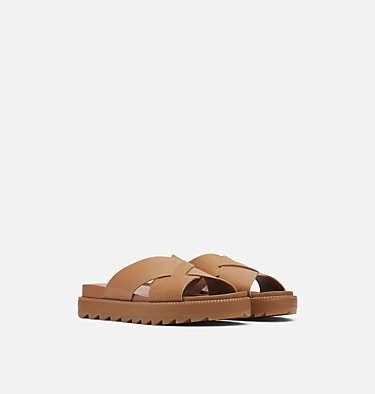 Sandalia Roaming™ Criss-Cross Slide Para Mujer ROAMING™ CRISS CROSS SLIDE | 365 | 10.5, Camel Brown, 3/4 front