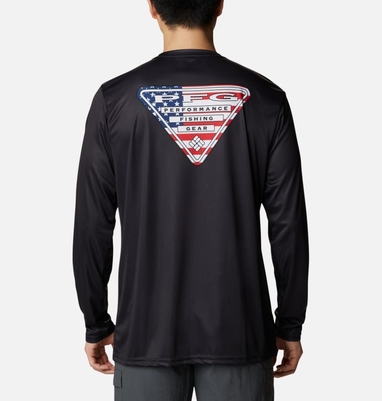 Terminal Tackle PFG™ Country Triangle LS | 011 | XXL Men's PFG Terminal Tackle™ Country Triangle Long Sleeve Shirt, Black, USA Flag, front