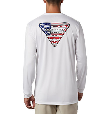Men's PFG Terminal Tackle™ Country Triangle Long Sleeve Shirt Terminal Tackle PFG™ Country Triangle LS | 487 | L, White, USA Flag, front