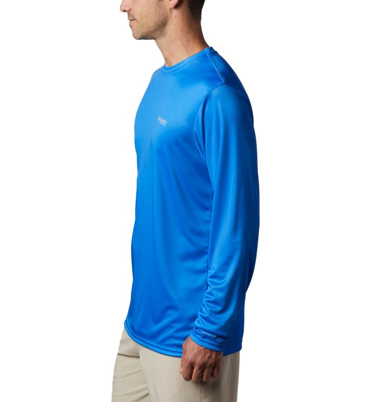 Terminal Tackle PFG™ Country Triangle LS | 487 | XL Men's PFG Terminal Tackle™ Country Triangle Long Sleeve Shirt, Vivid Blue, USA Flag, a1