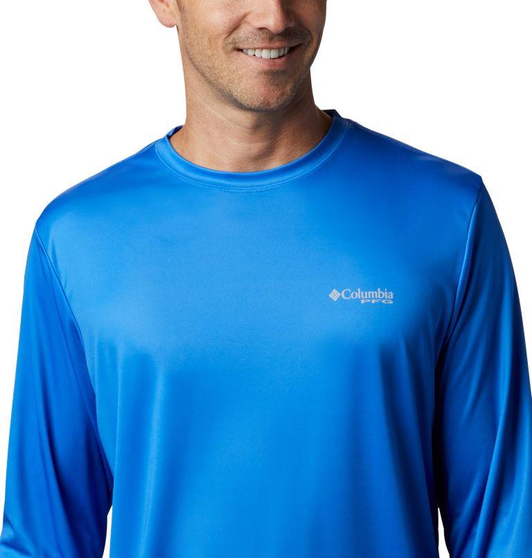 Terminal Tackle PFG™ Country Triangle LS | 487 | M Men's PFG Terminal Tackle™ Country Triangle Long Sleeve Shirt, Vivid Blue, USA Flag, a2