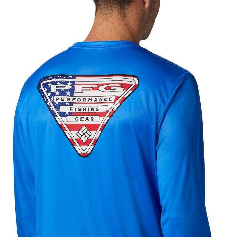Terminal Tackle PFG™ Country Triangle LS | 487 | XL Men's PFG Terminal Tackle™ Country Triangle Long Sleeve Shirt, Vivid Blue, USA Flag, a3