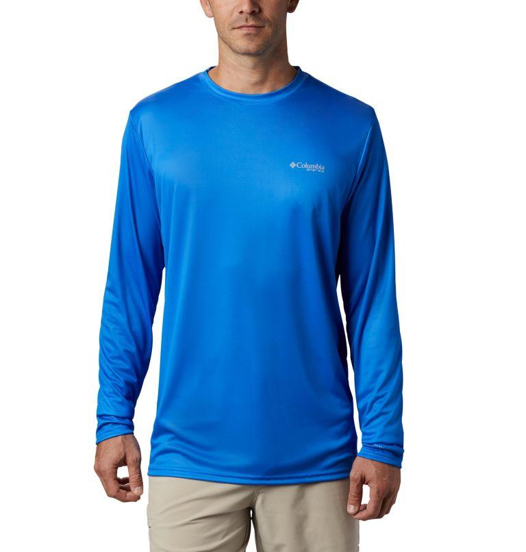 Terminal Tackle PFG™ Country Triangle LS | 487 | M Men's PFG Terminal Tackle™ Country Triangle Long Sleeve Shirt, Vivid Blue, USA Flag, back