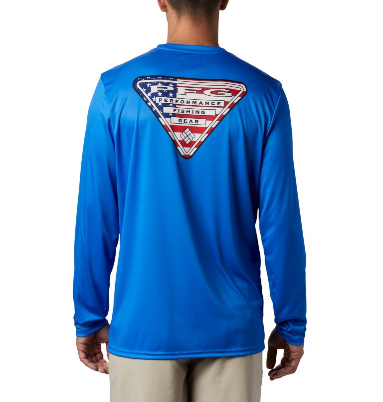 Terminal Tackle PFG™ Country Triangle LS | 487 | M Men's PFG Terminal Tackle™ Country Triangle Long Sleeve Shirt, Vivid Blue, USA Flag, front