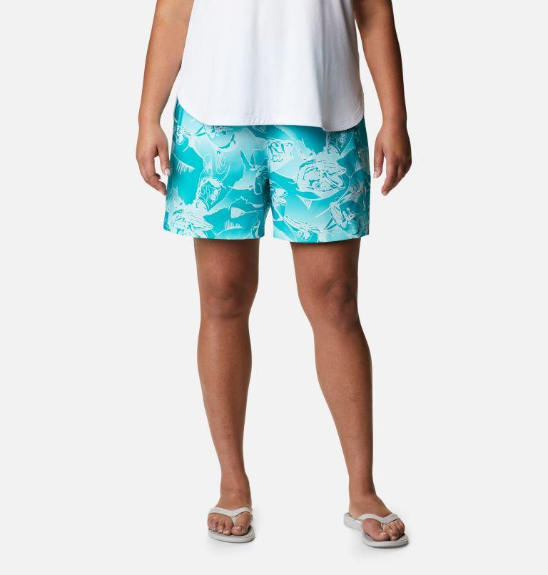 Tidal™ II Short | 360 | 1X Women's PFG Tidal™ II Shorts - Plus Size, Tropic Water Fish Frenzy Print, front