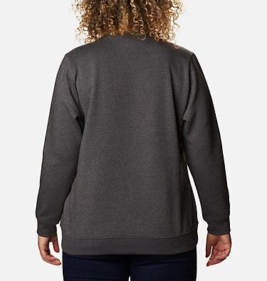 Women's Columbia™ Logo Crew Top - Plus Size Columbia™ Logo Crew | 397 | 1X, Shark Heather, back