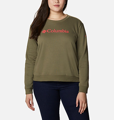 Women's Columbia™ Logo Crew Top - Plus Size Columbia™ Logo Crew | 397 | 1X, Stone Green, front
