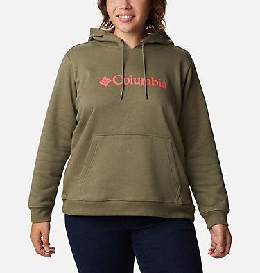 Women's Columbia™ Logo Hoodie - Plus Size Columbia™ Logo Hoodie | 673 | 1X, Stone Green, front