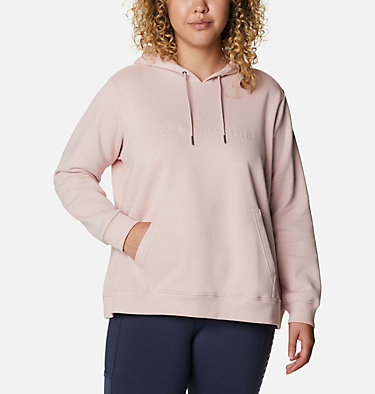Women's Columbia™ Logo Hoodie - Plus Size Columbia™ Logo Hoodie   673   1X, Mineral Pink, front