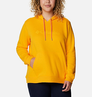 Women's Columbia™ Logo Hoodie - Plus Size Columbia™ Logo Hoodie | 673 | 1X, Bright Marigold, front
