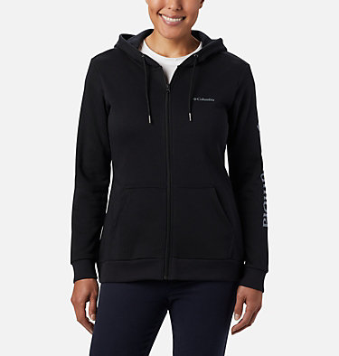 Women's Columbia™ Logo Full Zip Hoodie Columbia™ Logo Full Zip | 618 | L, Black, front
