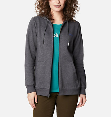 Women's Columbia™ Logo Full Zip Hoodie Columbia™ Logo Full Zip | 618 | L, Shark Heather, front