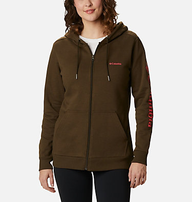 Women's Columbia™ Logo Full Zip Hoodie Columbia™ Logo Full Zip | 618 | L, Olive Green, front