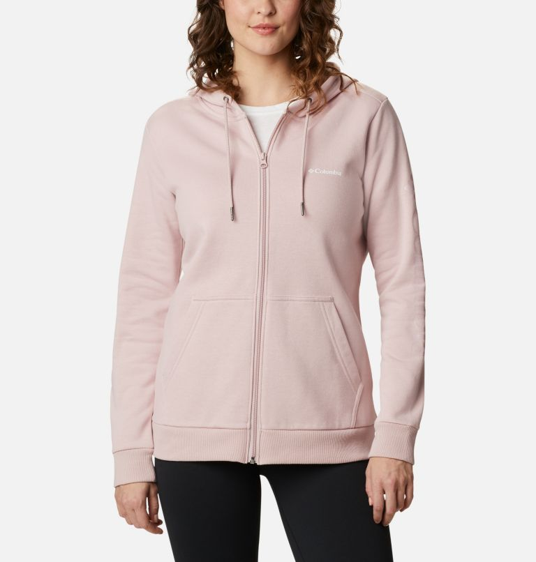 Columbia™ Logo Full Zip | 618 | M Women's Columbia™ Logo Full Zip Hoodie, Mineral Pink, front