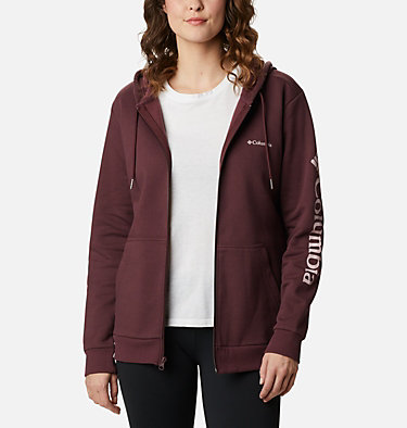 Women's Columbia™ Logo Full Zip Hoodie Columbia™ Logo Full Zip | 618 | L, Malbec, front