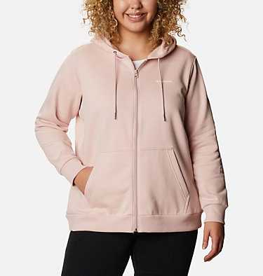 Women's Columbia™ Logo Full Zip Hoodie - Plus Size Columbia™ Logo Full Zip | 011 | 1X, Mineral Pink, front