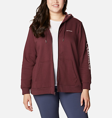 Women's Columbia™ Logo Full Zip Hoodie - Plus Size Columbia™ Logo Full Zip | 011 | 1X, Malbec, front