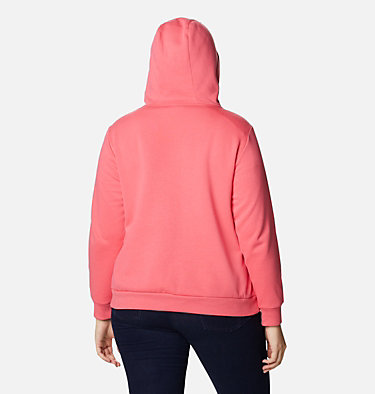Women's Columbia™ Logo Full Zip Hoodie - Plus Size Columbia™ Logo Full Zip | 011 | 1X, Bright Geranium, back