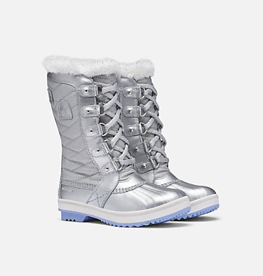 Disney X Sorel Children's Youth Tofino Boot –Frozen 2 Boot DISNEY X SOREL YOUTH TOFINO™ I | 034 | 3, Pure Silver, White, 3/4 front