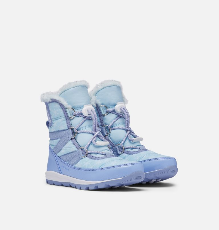DISNEY X SOREL YOUTH WHITNEY™  | 535 | 7 Disney X Sorel Youth Whitney™ Short Frozen 2 Boot –Elsa Edition, Frosted Purple, Pure Silver, 3/4 front