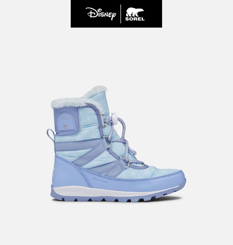 DISNEY X SOREL YOUTH WHITNEY™  | 535 | 7 Disney X Sorel Youth Whitney™ Short Frozen 2 Boot –Elsa Edition, Frosted Purple, Pure Silver, front