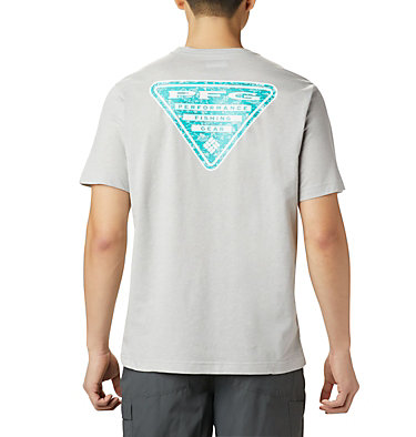 Men's PFG™ Triangle Print Pocket T-Shirt PFG™ Triangle Print Pocket Tee | 454 | M, Cool Grey, Gamefish Print, front