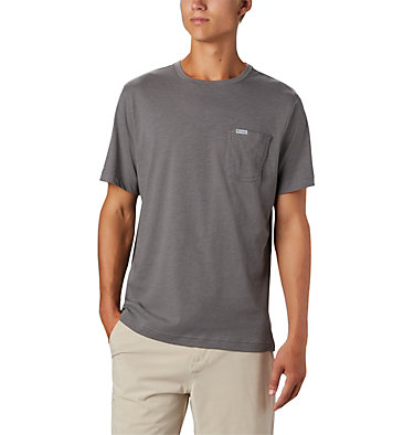 Men's PFG™ Triangle Print Pocket T-Shirt PFG™ Triangle Print Pocket Tee | 454 | M, City Grey, Gamefish Print, back