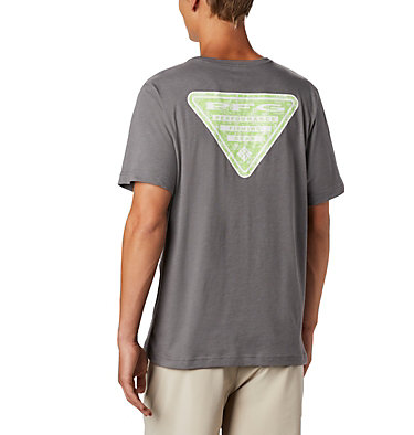 Men's PFG™ Triangle Print Pocket T-Shirt PFG™ Triangle Print Pocket Tee | 454 | M, City Grey, Gamefish Print, front