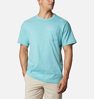 Men's PFG™ Triangle Print Pocket T-Shirt PFG™ Triangle Print Pocket Tee | 454 | M, Bright Aqua, Archive Palms Print, back