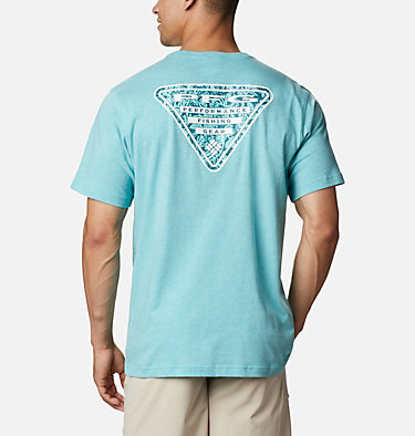 Men's PFG™ Triangle Print Pocket T-Shirt PFG™ Triangle Print Pocket Tee | 454 | M, Bright Aqua, Archive Palms Print, front